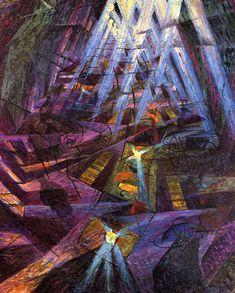 La rue - Gino Severini  1911 Composition, géométrique, dynamisme, mouvement, chaos, confusion.
