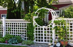 We tend think of fencing primarily in terms of its function: it's ability to keep trespassers out while keeping children and pets in. Deer Fence, Fence Gate, Fences, Garden Structures, Outdoor Structures, Fancy Fence, Garden Entrance, Garden Fencing, Trellis