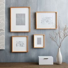 Thin Wood Gallery Frame, Bamboo, Assorted Set of 4 at West Elm - Picture Frames - Home Decor Mirror Wall Art, Frame Wall Decor, Home Wall Art, Frames On Wall, Framed Wall Art, Wood Frames, Art Frames, Wall Picture Frames, Frames Decor