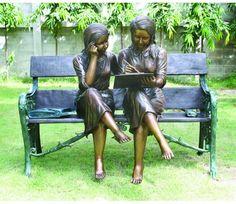 Schoolmate Children Bronze Garden Sculpture