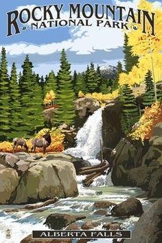 Alberta Falls - Rocky Mountain National Park - Lantern Press Poster