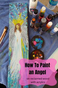 Here's my quick tutorial; how to paint an angel on reclaimed wood with acrylic paints Easy Canvas Painting, Diy Painting, Painting & Drawing, Watercolor Paintings, Watercolor Tips, Beginner Painting, Painting Tutorials, Abstract Paintings, Angel Wings Painting