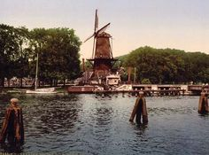 The Spaarne and windmill, Haarlem, Holland, c.1900, Color Photocrome.