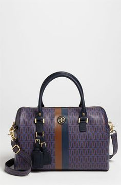 Update your new-season look with this bold stripe coated-canvas satchel by @ToryBurch.#ToryBurch #ViewTry