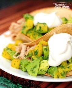 Kalua Pork Tacos with Fresh Mango Salsa Cucumber Recipes, Mango Recipes, Cucumber Salad, Easy Restaurant, Restaurant Recipes, Parmesan Baked Potatoes, Parmesan Squash, Family Meals, Family Recipes