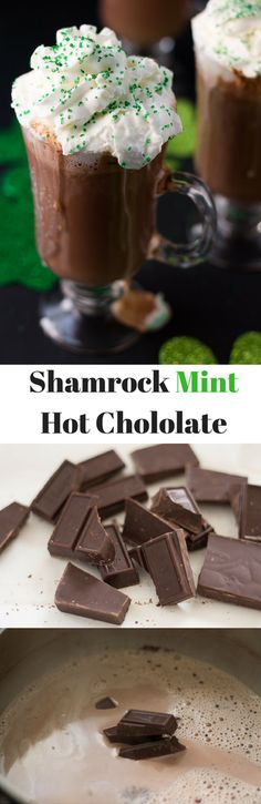 Shamrock Mint Hot Chocolate. St. Patrick's Day drink recipes. Delicious hot chocolate recipe.