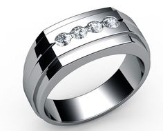 Four stones Men's ring in 18K White gold