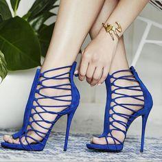 220857f73a10 Buy Now! Women s Blue Stiletto Heels Gladiator Sandals Strappy Zipper Open  Toe Pumps  elegantshoegirl