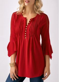 Three Quarter Sleeve Crinkle Chest Button Neck Blouse.