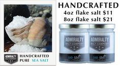 Products - Admiralty Salt Company - Handcrafted pure sea salt, procured from the cold currents of the Strait of Juan de Fuca, Wa.