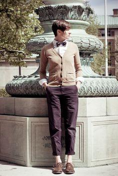Menswear Bow-Tie & Cardigan  Dapper Q Queer Ivy    Photos by Bex Wade