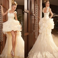 long trailing wedding dress, like it? share with other! re-pin now!