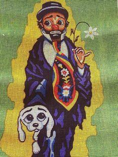 Vintage Big Eye Clown + Dog Large Needlepoint Canvas | eBay