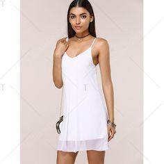 Stylish Women's Solid Color Chiffon Cami Dress   TwinkleDeals.com