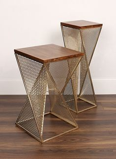 Elita Walnut Wood and Metal Accent Side Table by Kate and Laurel - Ideas of Table Steel Furniture, Deco Furniture, Unique Furniture, Cheap Furniture, Table Furniture, Furniture Design, Discount Furniture, Furniture Movers, Furniture Outlet