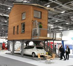 Love this idea. This is the kind of 'affordable housing' we should be building! Architect Bill Dunster has designed a range of tiny flats that stand on stilts above car parks in a bid to solve the UK's housing crisis (above) Tyni House, Tiny House Living, Casa Bunker, Casas Containers, Micro House, Small Places, Tiny House Plans, Tiny House Design, Little Houses