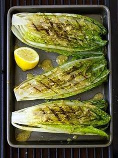 Grilled romaine hearts with caesar vinaigrette. - used with blackened chicken and homemade croutons.
