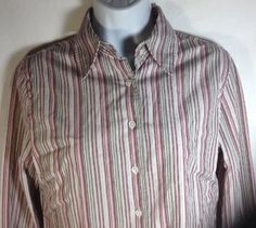 Faconnable Blouse Small Womens Fitted Long Sleeve Stripe Dress Shirt Stripe Pink