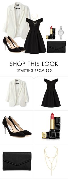 """""""Styling a Blazer"""" by dorothytorretijo ❤ liked on Polyvore featuring Chi Chi, Jimmy Choo, Guerlain, LULUS, Jules Smith and Kate Spade"""