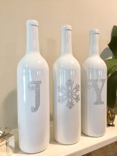 Joy Wine Bottles, Silver Christmas Decorations, Christmas Joy Wine Bottles, Christmas Wine Bottles by BriEllaCreations on Etsy
