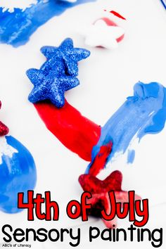 Are you looking for a fun sensory activity for your kids to do this summer? This 4th of July Sensory Painting is an engaging activity and creative project for children to make for the up-coming holiday. This Independence Day sensory activity is fun for kids of all ages and sure to be a hit with your children this summer. Click on the picture to learn how to make this 4th of July craft for kids? #craftforkids #4thofJulycraft #sensorypainting #sensoryactivity #sensoryplay