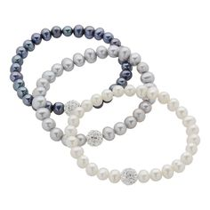 Dyed Freshwater Cultured Pearl and Crystal Stretch Bracelet Set, Women's, multicolor