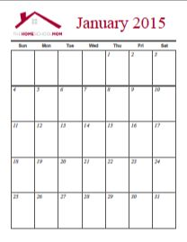 Monthly Calendar Page Printable - 2015