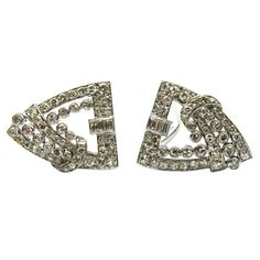 2.50ctw Art Deco Diamond Double-clip/brooch