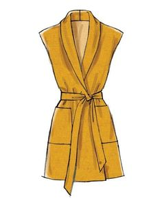 Misses' Collared Jackets, Vest and Tie Belt Loose-fitting jackets and vest are unlined with dropped shoulder, tie belt with thread carriers, and. Dress Design Drawing, Dress Design Sketches, Fashion Design Sketchbook, Fashion Illustration Sketches, Fashion Design Drawings, Dress Drawing, Fashion Sketches, Fashion Model Sketch, Design Illustrations