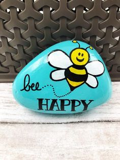 Rock Painting Ideas Discover Bee Happy Painted Rock Be Happy Stone Encouragement Rock Affirmation Stone Hand Painted Rock Christmas gift stocking stuffer Rock Painting Patterns, Rock Painting Ideas Easy, Rock Painting Designs, Paint Designs, Art Patterns, Happy Rock, Bee Happy, Happy Wife, Pebble Painting