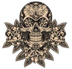Photo about Skull and roses vector illustration. Illustration of leaf, evil, design - 33176562 Sugar Skull Tattoos, Sugar Skull Art, Mexican Skull Tattoos, Sugar Skulls, Calaveras Mexicanas Tattoo, Los Muertos Tattoo, Catrina Tattoo, Totenkopf Tattoos, Skull Illustration