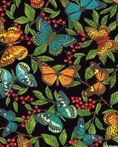 Modern Curiosity - Butterflies in Berries - Quilt Fabrics from www.eQuilter.com