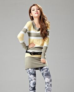 OCT.L Fashion Long Sleeve Pullover Stripe Women Sweater