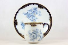Antique Meissen Demi Tasse Cup Saucer C 1875 Wilhelm Graef