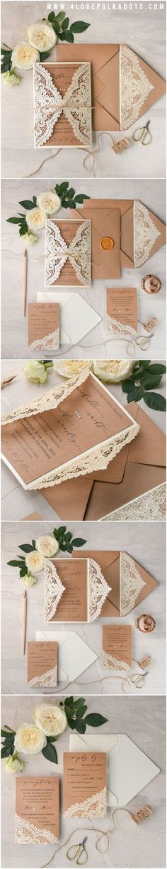 invitation idea number 1. this is my first choice because i like the lace and the look of the card.