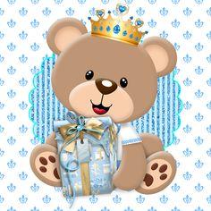 Kit festa para imprimir Ursinho príncipe Feito com papéis digitais da loja Arts Magali Moniwa lindos kits. Banderolas...