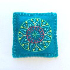 Aqua Embroidered Mandala Brooch via Etsy