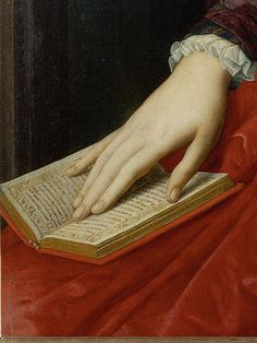 Portrait of Lucrezia Panciatichi (detail), Agnolo di Cosimo (Bronzino), ca. 1545 R Reading Art, Woman Reading, I Love Books, Good Books, Hand Kunst, Classical Art, Renaissance Art, Renaissance Paintings, Detail Art