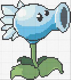 Plants v Zombies cross stitch Pokemon Cross Stitch, Cross Stitch Alphabet, Cross Stitch Charts, Pixel Crochet, Crochet Quilt, Perler Bead Art, Perler Beads, Cross Stitching, Cross Stitch Embroidery