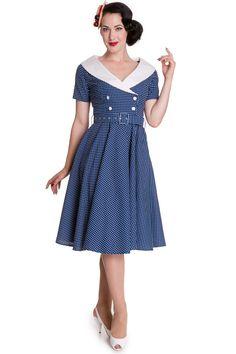 Hell Bunny 60's Vintage Navy Blue Polka Dot Hepburn Wide V Neck Dress