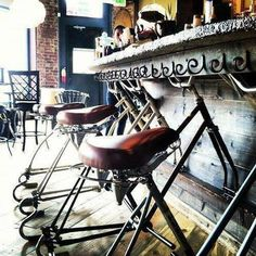 Fab bar stools in the ReCyclery Bike Cafe in Denver, Colarado!