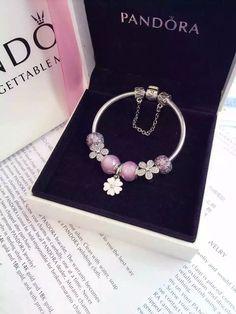 50% OFF!!! $219 Pandora Charm Bracelet Pink White. Hot Sale!!! SKU: CB01585 - PANDORA Bracelet Ideas