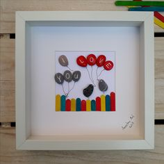 Love pebble picture, birds pebble art, Anselmo Pebble Art