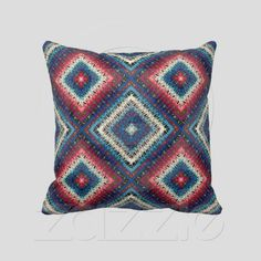 Red, White & Blue Granny Squares Reversible ~ Abstract strokes in shades of red, white & blue create a granny square blanket weave pattern. Reversible. Red, White, Blue. #dad #grad
