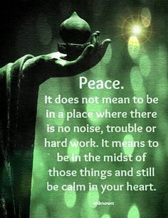 Peace. It does not mean to be in a place where there is no noise, trouble, or hard work. It means to be in the midst of those things and still be calm in your heart. ~ Unknown