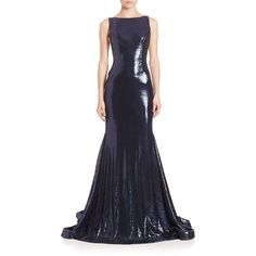 Jovani Sleeveless Beaded Sequin Gown ($725) ❤ liked on Polyvore featuring dresses, gowns, apparel & accessories, navy, navy blue gown, blue gown, jovani gown, blue ball gown and beaded gown
