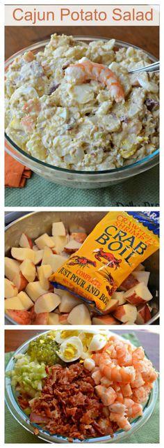 Cajun Potato  Salad-Cajun Shrimp Potato Salad-5 lbs new potatoes, 2 lbs of shrimp ¼ cup crab boil seasoning 1 -1/2 cups mayo ½ lbs bacon, 2 tbl creole mustard 1 tbl Worcestershire ½ cup celery, 6 boiled, sliced eggs 2 tsp Tony Chachere's Creole seasoning ½ tsp black pepper ½ tsp granulated garlic ¼ cup sweet relish