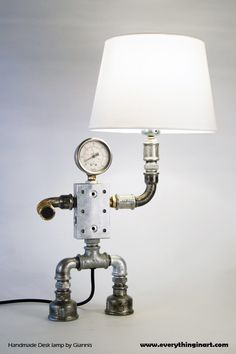 Robot plumbing desk lamp created by artist Giannis Dendrinos. Available on www.everythinginart.com