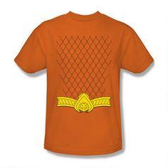 Adult Orange DC Comics Superhero Aquaman Classic Circle Image T-shirt Tee