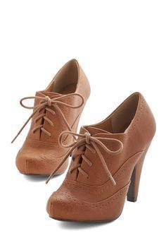 Flying First-Sass Heel in Cognac. Travel anywhere in delightfully sophisticated style with these cognac-brown pumps. #tan #modcloth